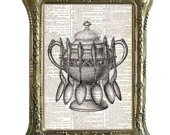 TUREEN and Spoons Victorian art print on upcycled vintage dictionary book page spice soup bowl kitchen dining wall decor black white 8x10