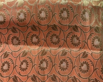 10% OFF One yard of Indian brocade fabric in Peach and gold in a flower and vine pattern/Benarasi brocade/ dress ,costume fabric/ f