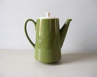 Vintage 1960s coffee pot Avocado green teapot
