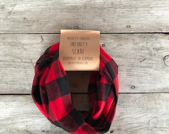 Red and Black Large Buffalo Plaid Flannel Infinity Scarf - Plaid - Flannel - Oversized - Warm - Winter- Cozy - Unisex - Gray