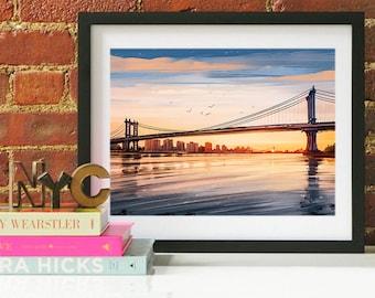 New York City Manhattan Bridge, New York City Skyline, New York City Art, New York City Poster, New York City Print, New York City Art