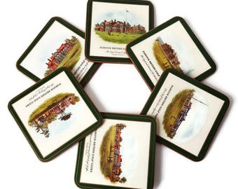 Golf Coaster Set of 6/ Pimpernel Cork Backed Coasters/ Famous British Golf Clubs/Vintage Golfers Gift/