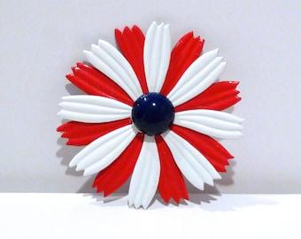 Red White and Blue Flower Pin Brooch Vintage 1960s Enameled Metal Spring Summer Lapel Pin Mod Flower Power Flower Pinwheel Plattermatter