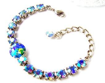 Blau Strass Armband / Aurora Borealis / Tennis Armband / Geschenk für sie / Geburtstagsgeschenk / Swarovski Kristall / Sapphire Strass / Aqua