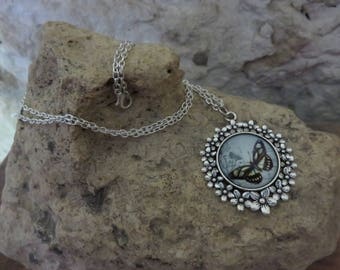 """Print and cabochon """"collection Butterfly"""" silver necklace"""