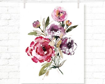 Rose Bouquet - Carnation - Rose - Flower - Floral - Watercolor - Art Print - Wall Art