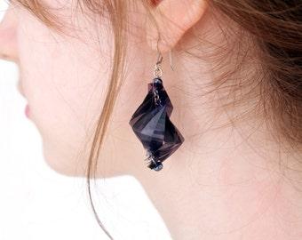 Clairvoy- Overlap repurposed film earrings