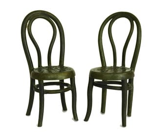 French Doll Chairs. Antique Bronze Miniature Doll's House Furniture. Collectible Pair of Bistro Chairs.
