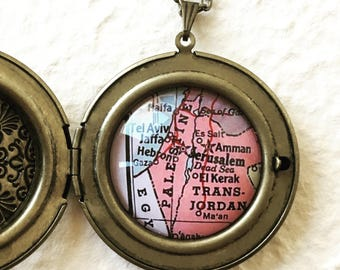 Palestine Map Locket Necklace - Large Size featuring Jaffa, Tel Aviv, Dead Sea, Amman, Hebron, Gaza, - Great gift for her