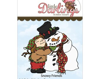 Snowy Friends (Little Darling Stamps) - unmounted rubber stamp by Little Darlings Rubber Stamps
