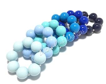 Toddler or Girls Solid Color Chunky bracelets - Blue, Aqua, Royal Blue, Navy Chunky Bracelet - Girls Beach Bracelet - Shades of Blue