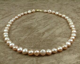 Pink Pearl Necklace 10 - 11 mm (Κολιέ με Ροζ Μαργαριτάρια 10 - 11 mm)