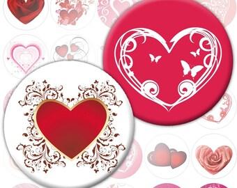 Colorful hearts digital collage sheet 1.5 inch circles (259) Buy 3 - get 1 bonus