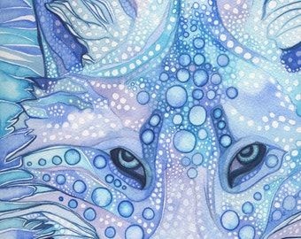 ARCTIC FOX 5 x 7 print of detailed watercolour in whimsical surreal and psychedelic blues, snow winter ice