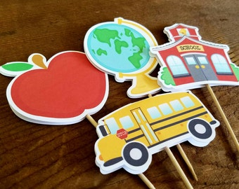 Back to School Party - Set of 12 Assorted School Days Cupcake Toppers by The Birthday House