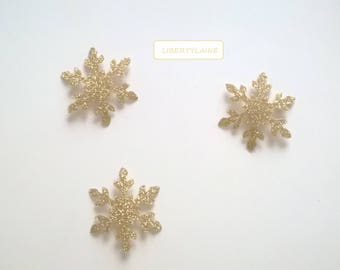 Applied fusing 3 4 CM snowflake clear glittery gold stars