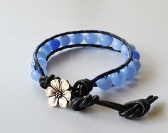 Leather Beaded Single Wrap Bracelet Blue Lampwork Beads