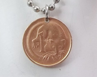 Australian Coin Necklace, 1 Cent, Coin Pendant, Men's Necklace, Women's Necklace, 1977