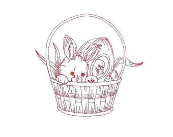 Adorable Easter Redwork 02
