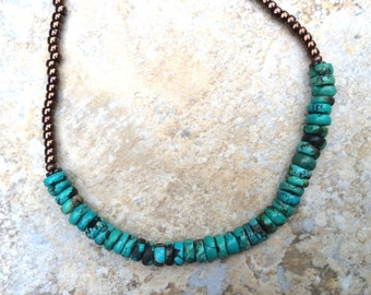 Turquoise, Copper and Seed Bead Necklace