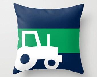 Tractor Throw Pillow Cover, Boys Room Decor, Navy Green White Pillow Cover, Nursery Decor