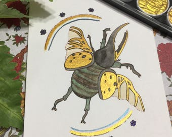 5x7 Original Beetle Painting with Pearlescent Watercolours
