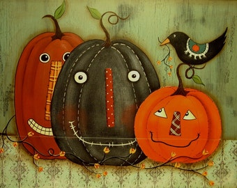 Primitive Fall Halloween E Pattern Pumpkin Pals Terrye French Autumn Instant Download