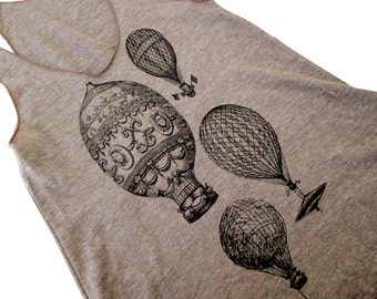 Hot Air Balloons print on an American Apparel Tri-Blend racer back Tank top - (Available in sizes S, M, L)
