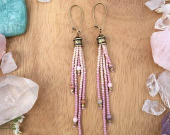 Fringe Seed Bead Earrings, Long Seed Bead Earrings, Boho Beaded Earrings