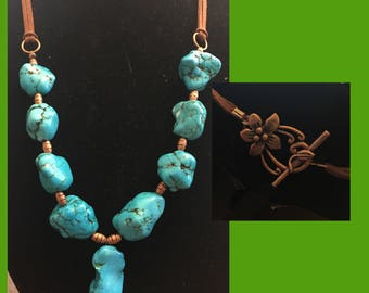 Dyed Turquoise Necklace W/ Flower Clasp
