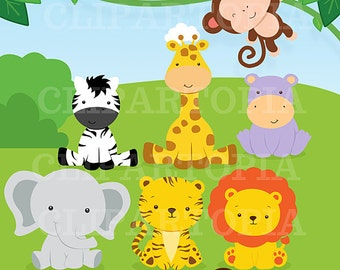 Jungle Animals Baby Digital Clipart / Safari Animals Clip art / Zoo Animals Clipart / For Personal And Commercial Use/ Instant Download