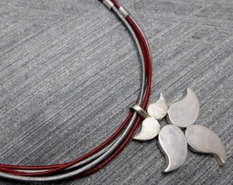 Leather Choker Necklace, 5 Silver Leaves Pendant, Leather Strings, Silver and Red,Silver Tubes, Statement