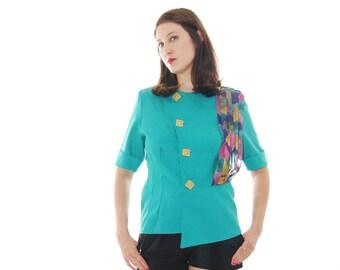 70s  Blouse.Turquoise Blouse.Elegant Vintage  Blouse.70's Blouses.Turquoise Sophisticated Vintage Blouse For Women 1970s.  free Shipping