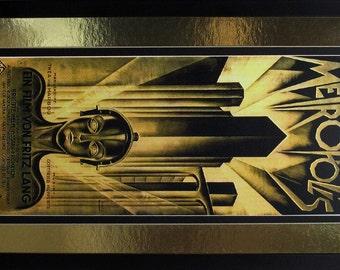 Large Metropolis Poster Metalic Gold Mat Finest Quality