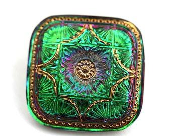 33mm Large Square Glass Button, Iridescent Green Purple, Golden Ornament Handmade Czech Button bead, size 18, 1pc - 1405