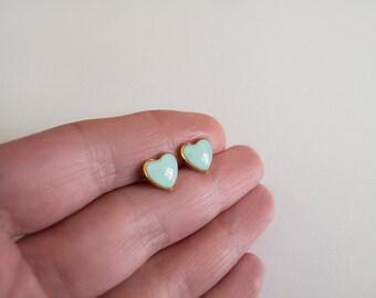 Mint Gold Heart Stud Earrings