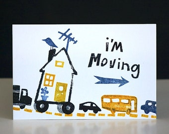 I'm Moving/ I've Moved Handmade Moving Postcards, Change of Address Announcements