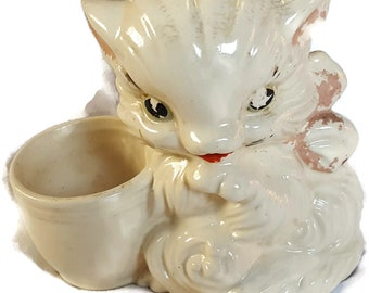 Vintage Retro USA Hull Pottery Kitten Cat Planter #61 - Mid Century Kitty Needs Cold Paint Re-applied