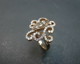 Engagement Ring with Marquise Diamond in 18K Rose Gold
