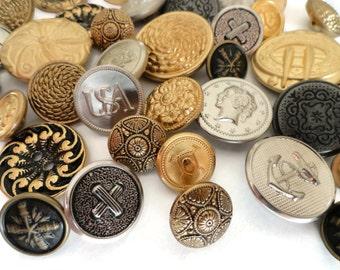 40 Vintage Metal Buttons - Silver and Gold Button Destash