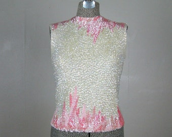 Vintage 1960's Sequin Blouse 60's Wool Knit Pink and White Sparkly Shell Top Size M