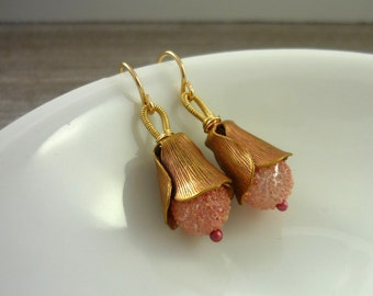 Rose gold rose bud drop earrings #makeforgood