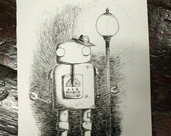 Hobo Robo - original pen and ink robot drawing by Jon Turner- FREE WORLDWIDE SHIPPING
