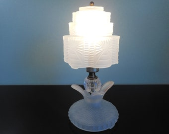 Glass lamp with 3 Tiered Glass Shade  White Lamp