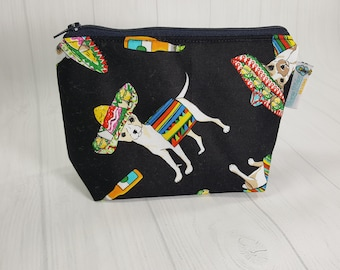 Chihuahua Cinco de Mayo Black Chiwawa Zipper Notions Pouch, Mini Zippered Wedge Bag, Craft Pouch NP0056