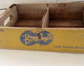 wooden crate - Vintage Yellow Bireley's Wood Crate - Advertising Crate - Mid Century - 1950s - Farmhouse Style - Primitive storage