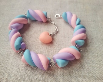 Marshmallow bracelet, candy bracelet, fairy kei, sweet lolita, miniature food jewelry, pastel goth, kawaii bracelet, pastel rainbow