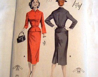 Vintage 1950s Butterick 8013 fitted suit with bloused back sewing pattern size 12