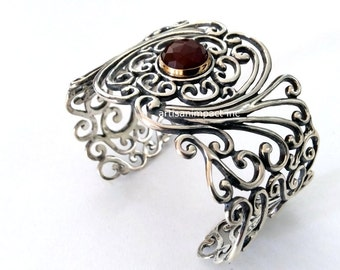 Wide filigree cuff, Sterling silver gold cuff, filigree bracelet, carnelian stone, statement cuff, rustic orange stone - All you need B3001