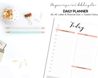 Daily Planner Printable, To Do List, Daily Schedule, Day Organizer, Daily Agenda, Desk Planner, 2017 Daily Planner, Custom Color Inserts